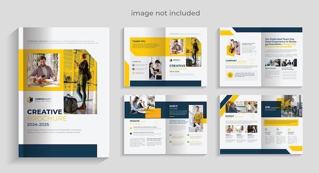 Plantilla de folleto corporativo premium con acentos de diseño amarillo y oscuro