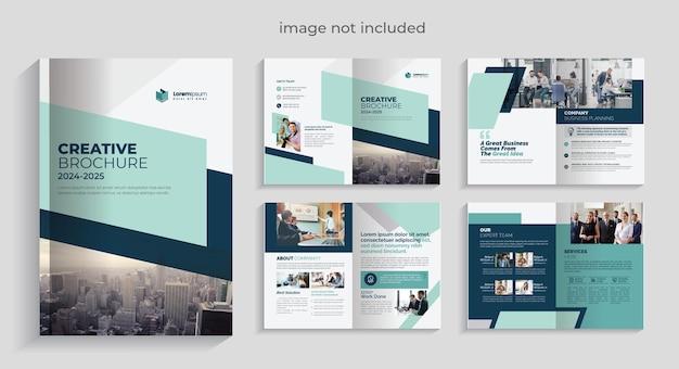 Plantilla de folleto corporativo premium vector 08 páginas