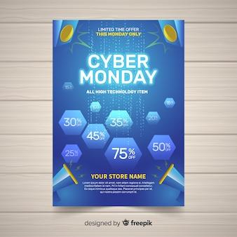 Plantilla de folleto de cyber monday con diseño plano