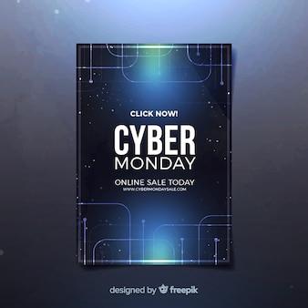 Plantilla de folleto de cyber monday con diseño realista