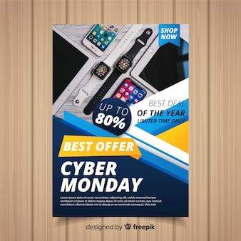 Plantilla de folleto de cyber monday