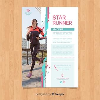 Plantilla de folleto de deportes con foto