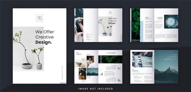 Plantilla de folleto de diseño y marca comercial minimalista, texto editable