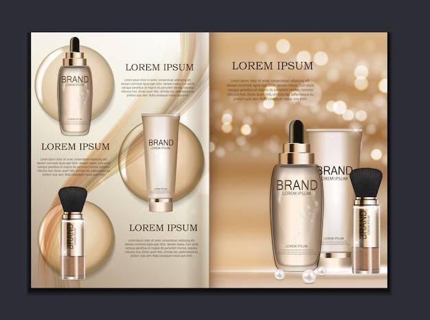 Plantilla de folleto de diseño de productos cosméticos para anuncios o fondo de revistas