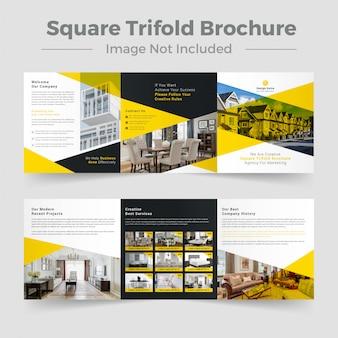 Plantilla de folleto - edificio cuadrado de bienes raíces triple