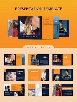 Plantilla de folleto elegante para tienda de moda con color naranja.