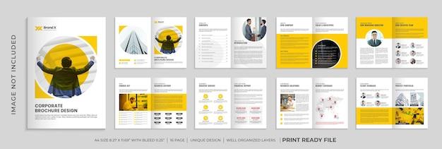 Plantilla de folleto de empresa de forma de color naranja, folleto corporativo de varias páginas