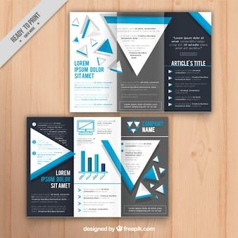 Plantilla de folleto empresarial con detalles azules