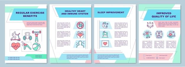 Plantilla de folleto de estado de salud. entrenamiento de equilibrio. sistema inmunitario.