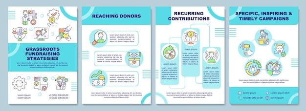 Plantilla de folleto de estrategias de recaudación de fondos de base. cobro de dinero.