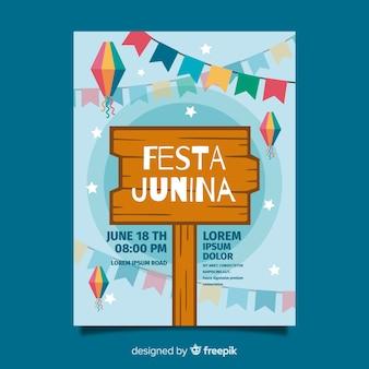 Plantilla de folleto de fiesta junina