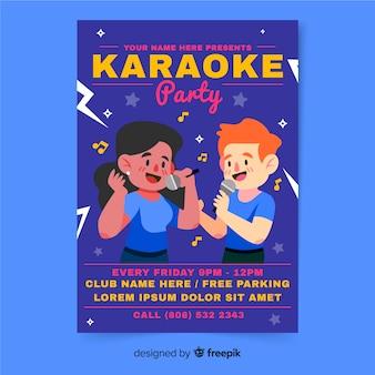 Plantilla de folleto de fiesta nocturna de karaoke