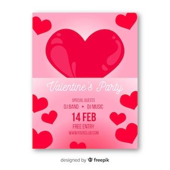 Plantilla de folleto de fiesta de san valentín