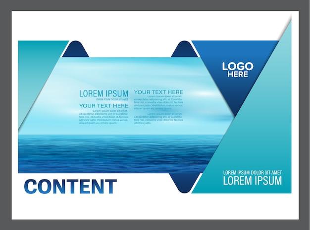 Plantilla de folleto flyer de verano azul ola de mar