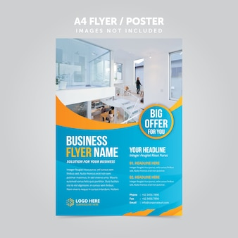 Plantilla de folleto de folleto de negocio abstracto mulripurpose a4