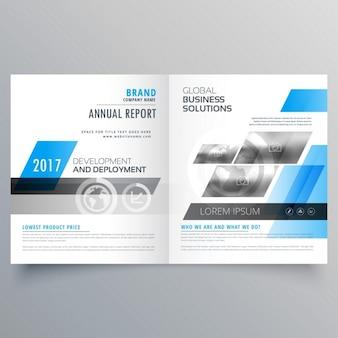 Plantilla de folleto con formas azules