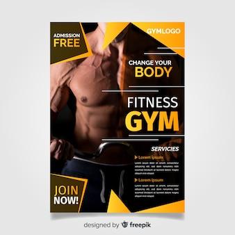 Plantilla de folleto de gimnasio con foto
