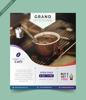 Plantilla de folleto para la gran apertura de cafetería