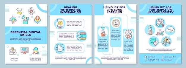 Plantilla de folleto de habilidades digitales esenciales. utilizar las tic para el aprendizaje. folleto, folleto, impresión de folletos, diseño de portada con iconos lineales.