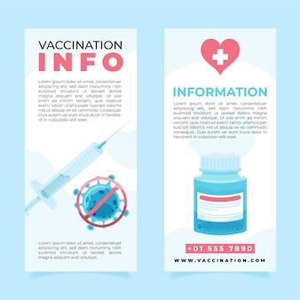 Plantilla de folleto informativo de vacunación contra el coronavirus dibujado a mano plana
