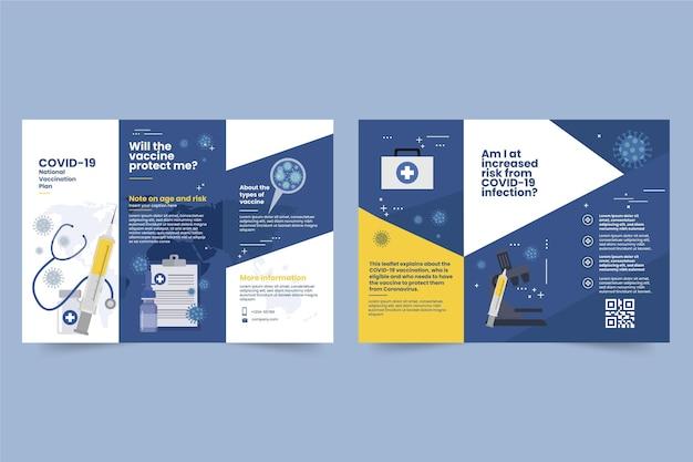 Plantilla de folleto informativo de vacunación contra el coronavirus dibujado a mano plana vector gratuito