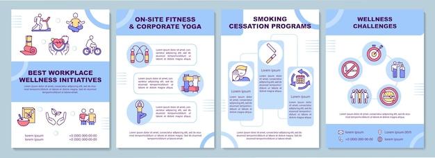 Plantilla de folleto de mejores iniciativas de bienestar en el lugar de trabajo