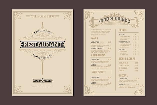 Plantilla de folleto de menú y logotipo de restaurante.