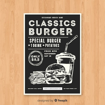 Plantilla de folleto moderno de hamburguesería
