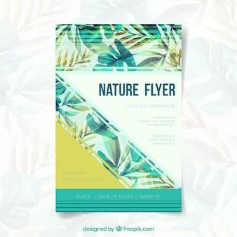 Plantilla de folleto de naturaleza en acuarela