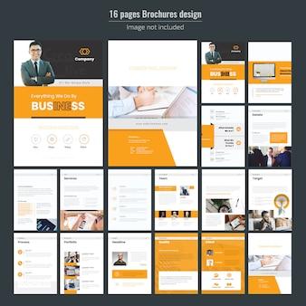 Plantilla de folleto - negocio amarillo de 16 páginas