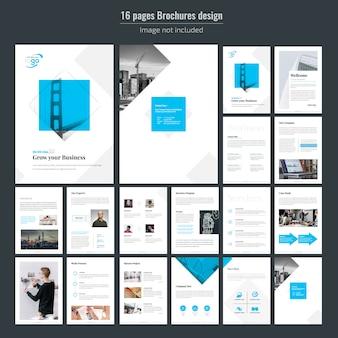 Plantilla de folleto - negocio azul de 16 páginas