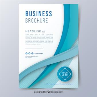 Plantilla de folleto de negocios a5 con formas onduladas