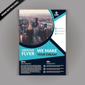 Plantilla de folleto de negocios con color azul