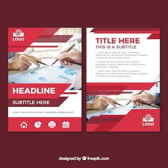 Plantilla de folleto de negocios moderno rojo