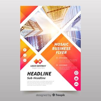 Plantilla de folleto de negocios con mosaico