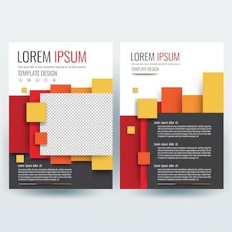 Plantilla de folleto de negocios, plantilla de diseño de volantes, perfil de la empresa, revista, póster, informe anual, libro y cubierta de folleto, con coloridos geométricos, en tamaño a4.