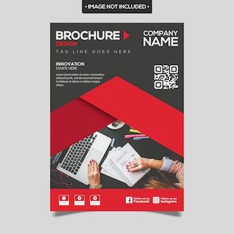 Plantilla de folleto de negocios rojo y negro