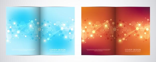 Plantilla para folleto o cubierta con fondo de estructura molecular y puntos y líneas conectadas.