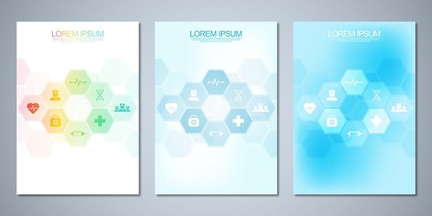 Plantilla de folleto o portada, libro, volante, con iconos y símbolos médicos. concepto de tecnología sanitaria, ciencia y medicina.