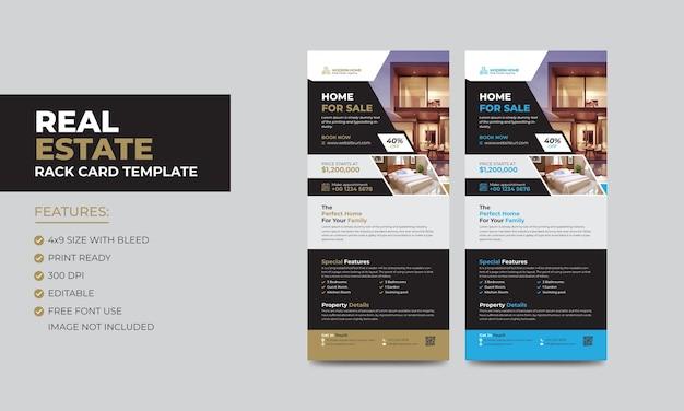 Plantilla de folleto o tarjeta publicitaria de bienes raíces