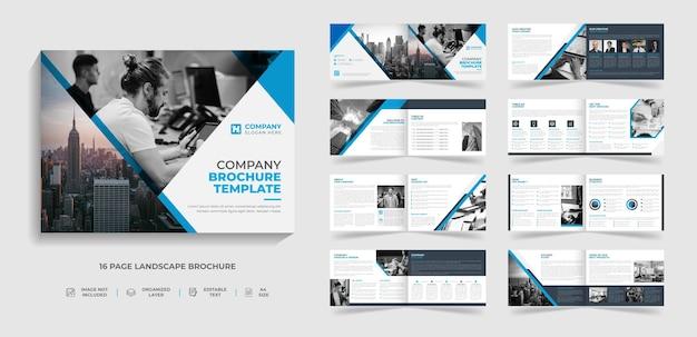 Plantilla de folleto de paisaje bi fold moderno corporativo y diseño de informe anual de perfil de empresa