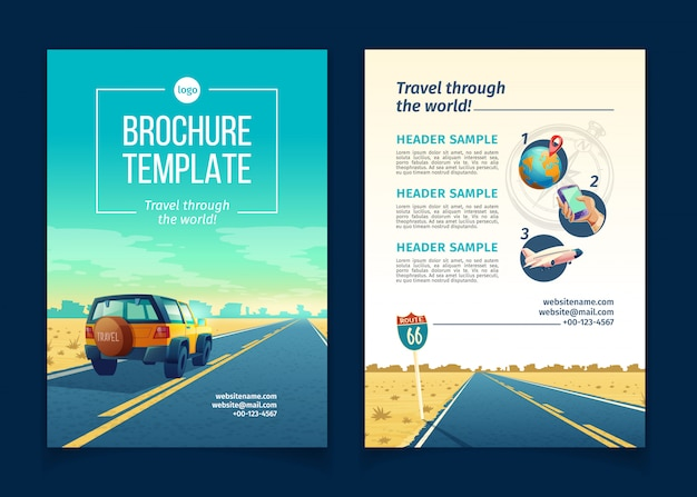 Plantilla de folleto con paisaje desértico. concepto de viaje con suv en camino de asfalto al cañón