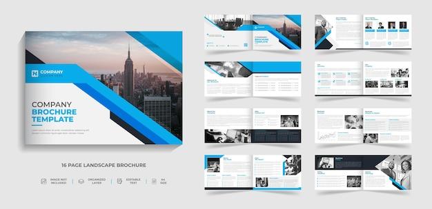 Plantilla de folleto de paisaje de varias páginas plegable moderno corporativo diseño de informe anual de perfil de empresa