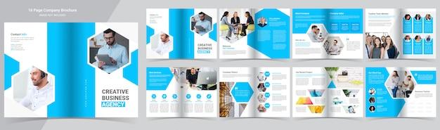 Plantilla de folleto de perfil de empresa azul