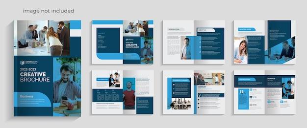 Plantilla de folleto plegable creativo azul con detalles de diseño de 12 páginas