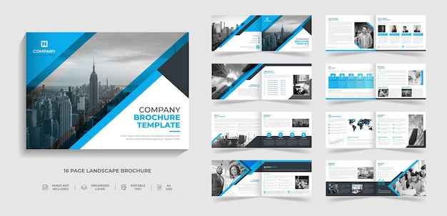 Plantilla de folleto plegable de paisaje moderno corporativo de 16 páginas perfil de la empresa diseño de informe anual