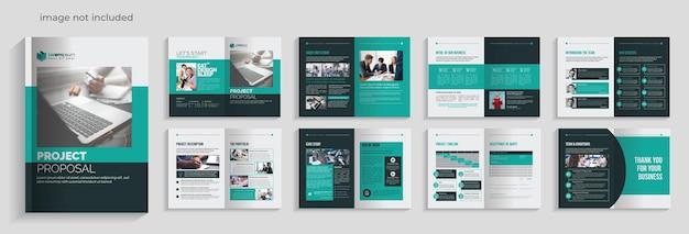 Plantilla de folleto de propuesta multipropósito con elementos de diseño de 16 páginas