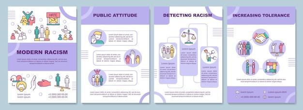 Plantilla de folleto de racismo moderno. actitud pública.