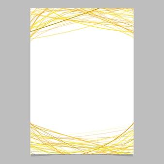 Plantilla de folleto con rayas arqueadas al azar en tonos amarillos en la parte superior e inferior - ilustración sobre fondo blanco