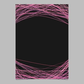 Plantilla de folleto con rayas arqueadas al azar en tonos rosas - ilustración vectorial de folleto en blanco sobre fondo blanco